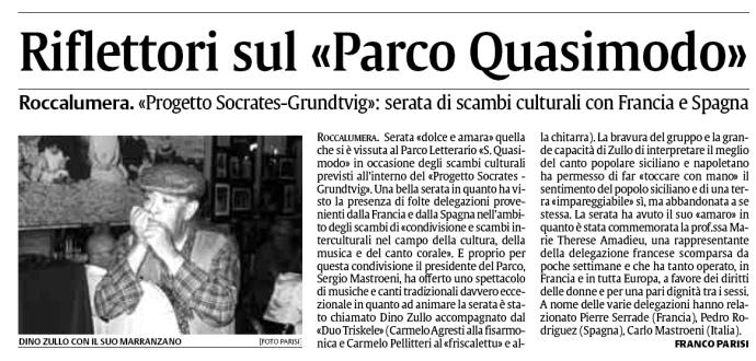 """Riflettori sul Parco Quasimodo – """"La Sicilia"""" – 14 giugno 2008"""