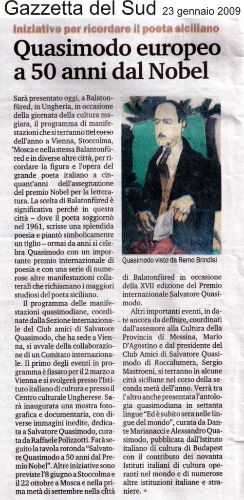 Gazzetta del Sud – 23 gennaio 2009 – Quasimodo europeo a 50 anni dal Nobel