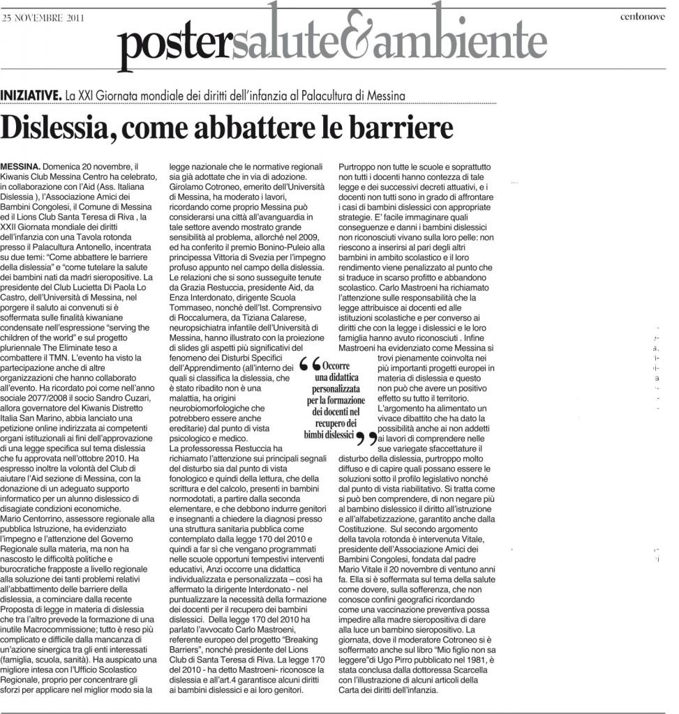 """Rassegna Stampa:Dislessia – Come abbattere le barriere ( da """" Centonove """")"""