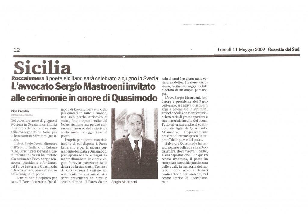 Gazzetta del Sud – 11 maggio 2009 – L'Avv. Sergio Mastroeni invitato alle cerimonie in onore di Quasimodo