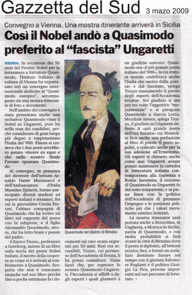 Gazzetta del Sud – 3 marzo 2009 – Convegno a Vienna,  una mostra itinerante arriverà in Sicilia