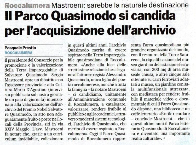 24 agosto 2008 – Articolo pubblicato da Gazzetta del Sud – Roccalumera, Il Parco Quasimodo si candida per l'acquisizione dell'archivio.