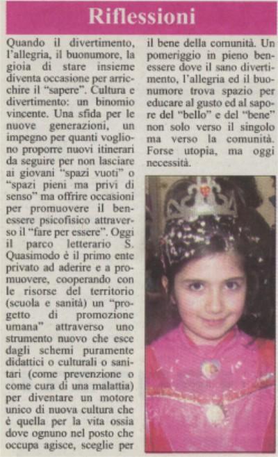 La Gazzetta Jonica elogia il Parco Quasimodo di Roccalumera – 27 febbraio 2009