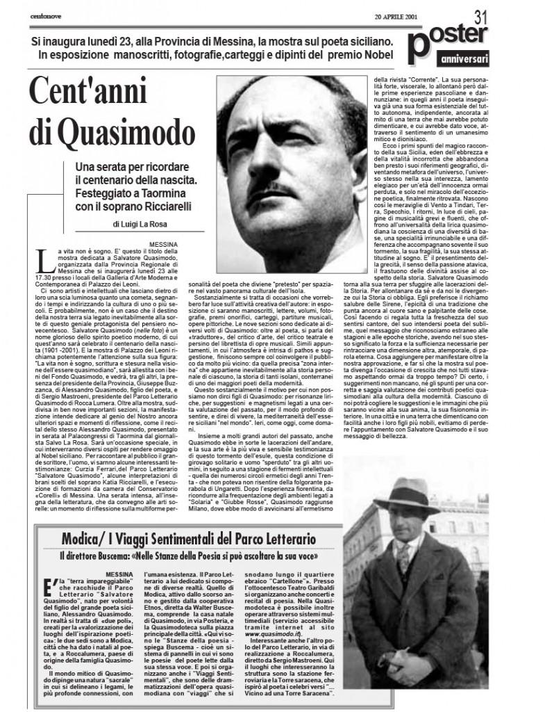 Settimanale centonove – cent'anni di Quasimodo – aprile 2001