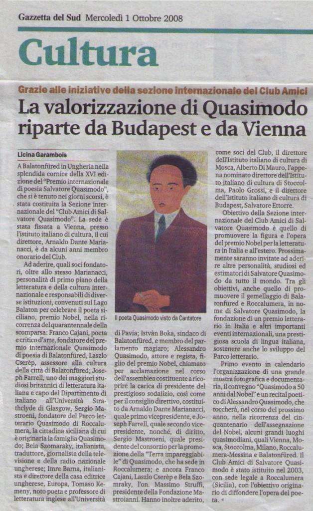 """Gazzetta del Sud. 1 ottobre 2008, Grazie alle iniziative della sezione internazionale del Club Amici """"La valorizzazione di Quasimodo riparte da Budapest e da Vienna"""""""