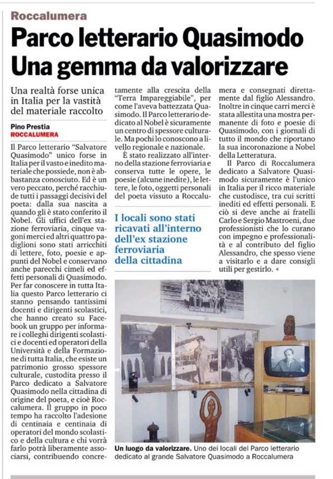 Parco Letterario Quasimodo: una gemma da valorizzare – Gazzetta del Sud, 5 Gennaio 2016