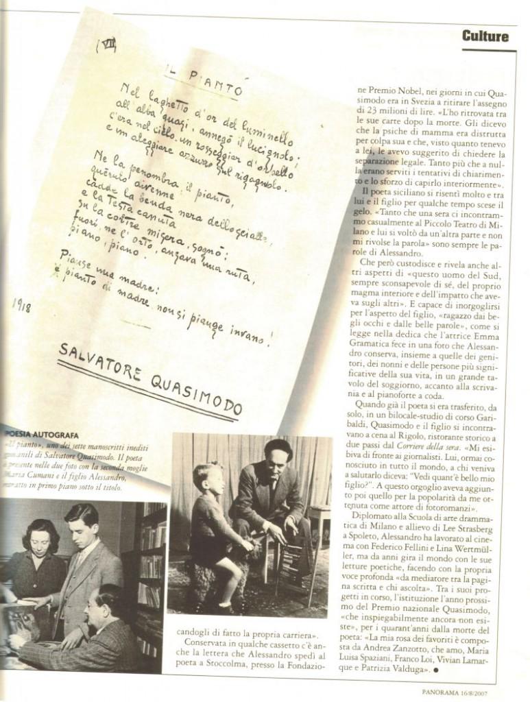 Dal Settimanale Panorama – Quasimodo inedito – ritrovate sette poesie del poeta che vinse il Nobel. 16 agosto 2007