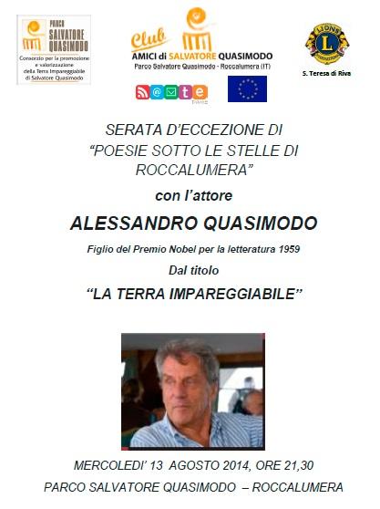 Recital di Alessandro Quasimodo al Parco Letterario di Roccalumera
