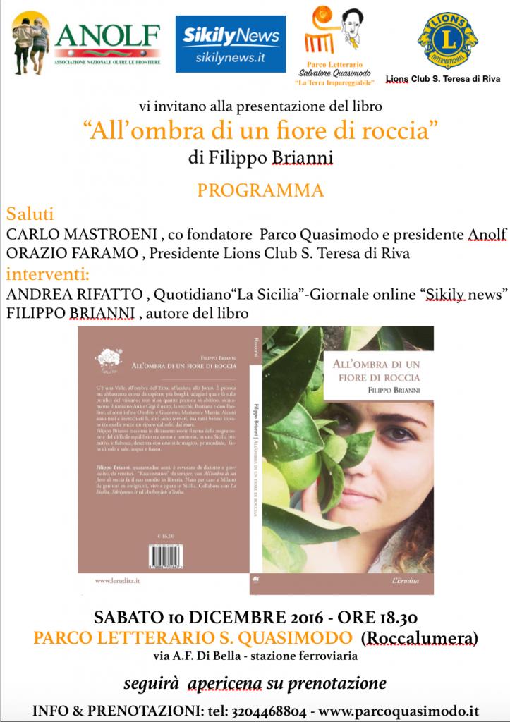 """Presentazione del libro """"All'ombra di un fiore di Roccia"""" di Filippo Brianni"""