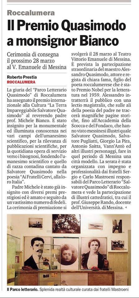 """Articolo della """" Gazzetta del Sud """" , sul premio """" Salvatore Quasimodo """""""