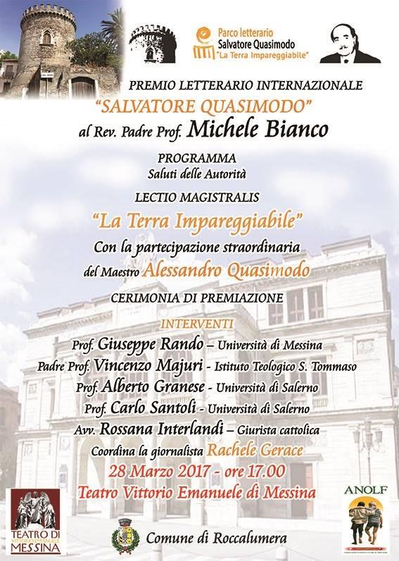 """Assegnato il Premio internazionale alla Cultura """"la Terra Impareggiabile –  Salvatore Quasimodo"""""""