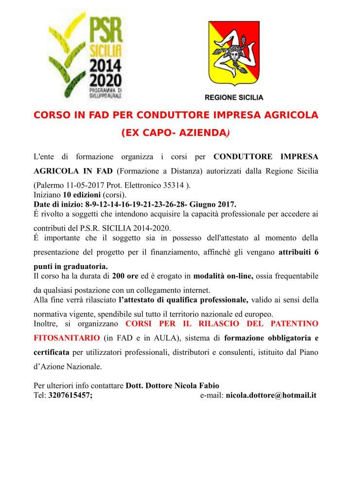 """Il Parco per il territorio : Corso di formazione per """" Conduttore  di impresa agricola """""""