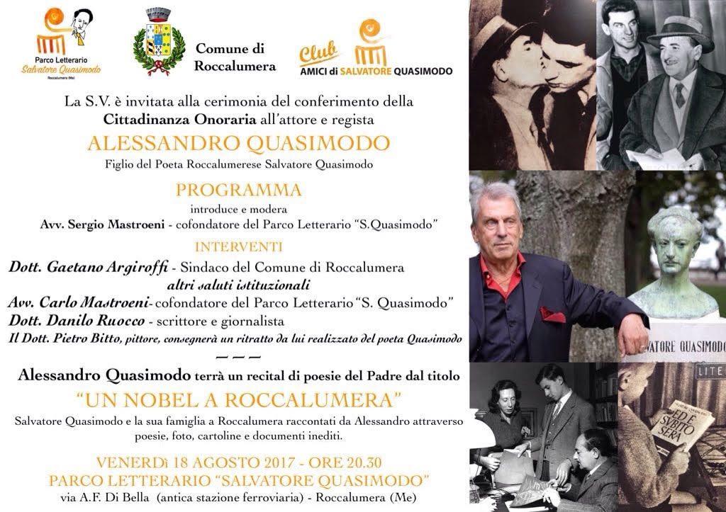 Cerimonia per il conferimento della Cittadinanza onoraria ad Alessandro Quasimodo