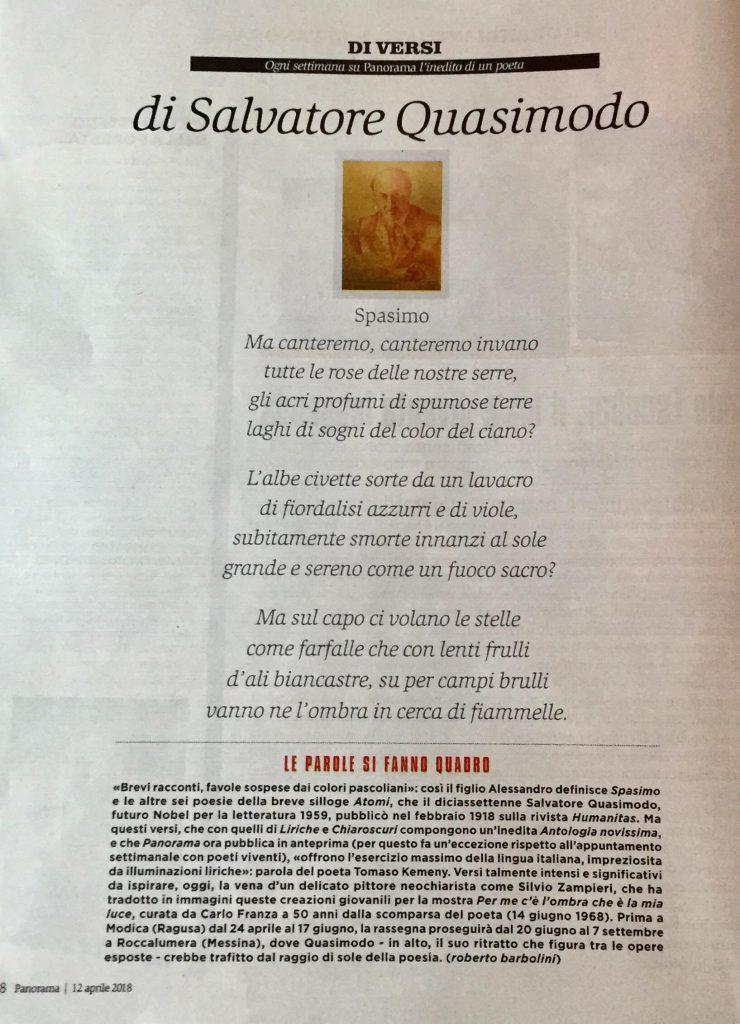 Di Versi di Salvatore Quasimodo (PANORAMA, pag. 118, 12.4.2018)
