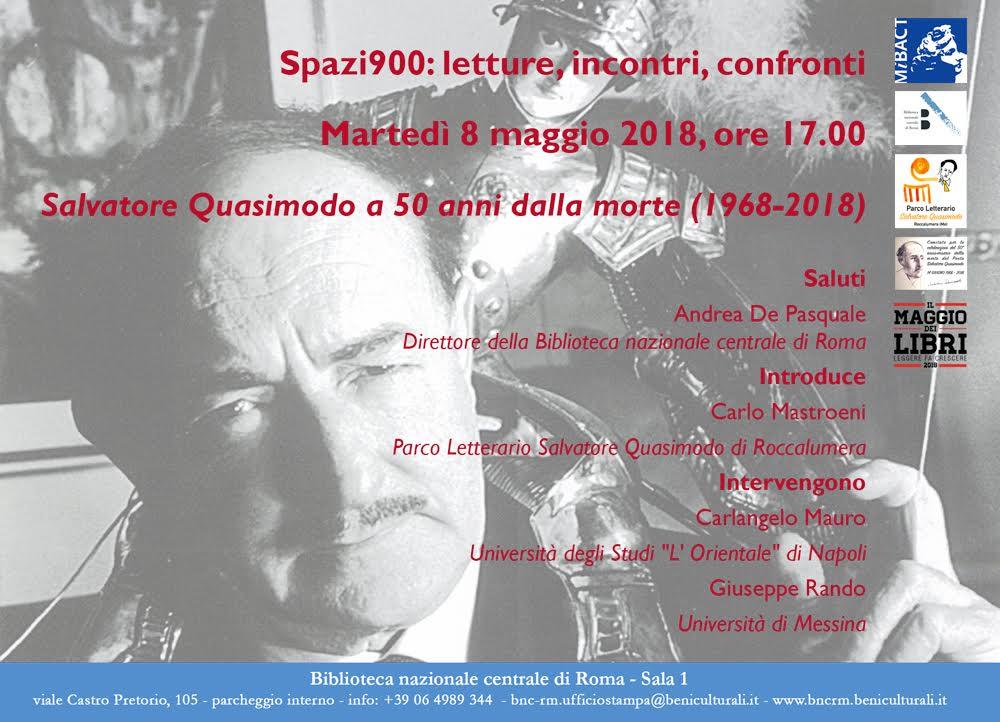 """Convegno """"Salvatore Quasimodo a 50 anni dalla morte"""" – Martedì 8 maggio, ore 17.00, Biblioteca nazionale centrale di Roma"""