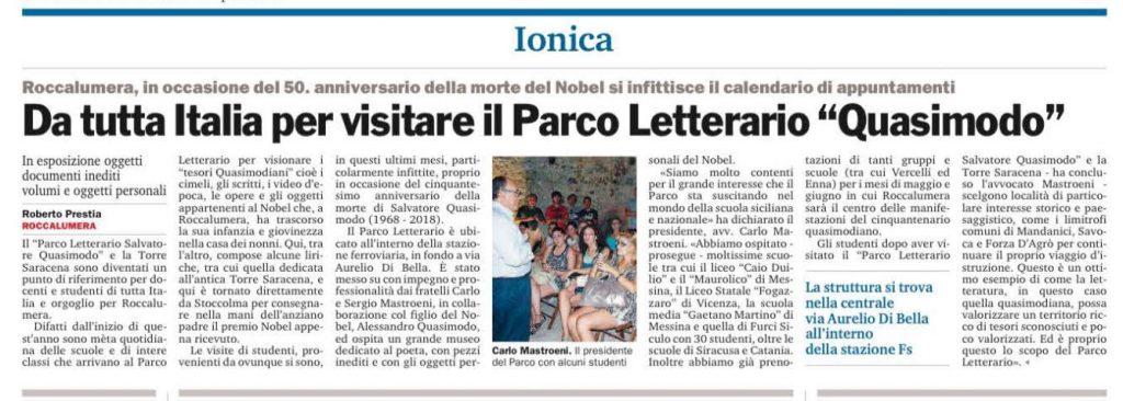 """""""Da tutta Italia per visitare il Parco Letterario 'Quasimodo'"""" – Gazzetta del Sud, 29.04.2018"""