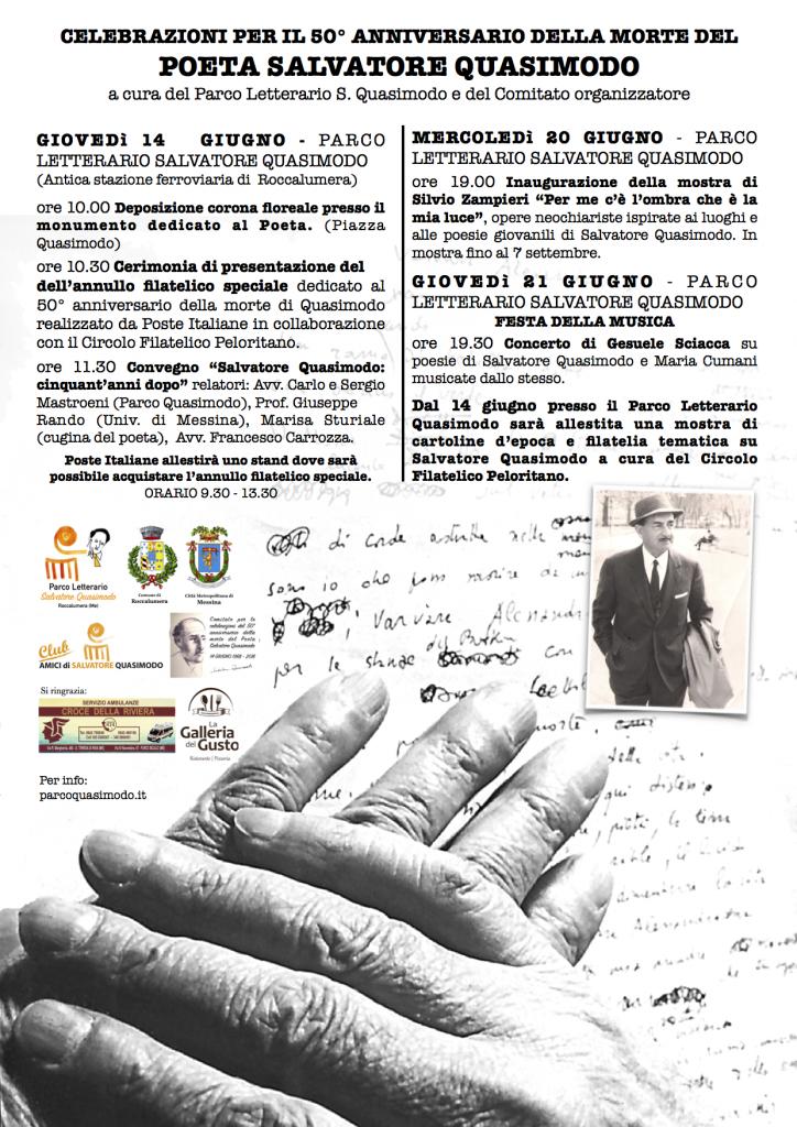 Calendario delle manifestazioni a Roccalumera per il 50° anniv. della scomparsa di S. Quasimodo