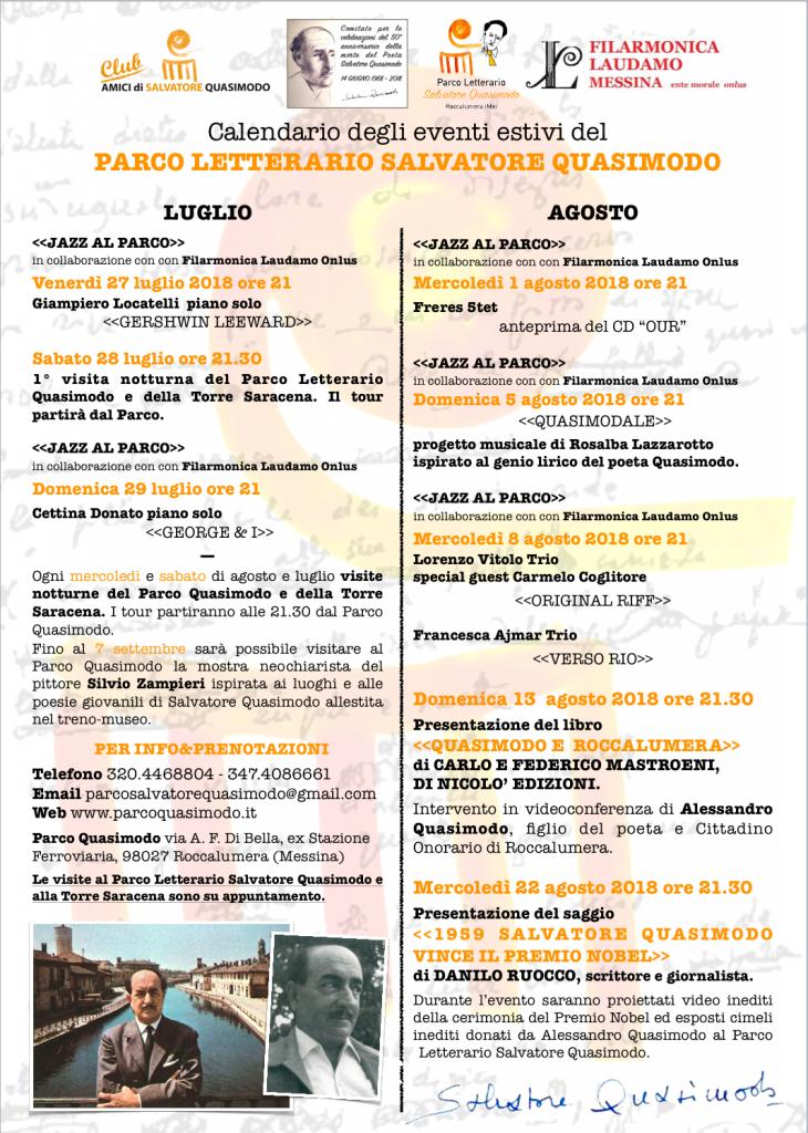 CALENDARIO MANIFESTAZIONI ESTATE 2018