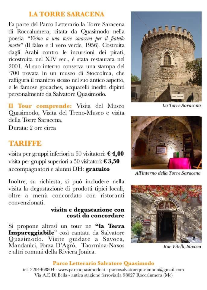 Pacchetto per le visite didattiche al Parco Letterario Quasimodo per le scuole secondarie di I e II grado.