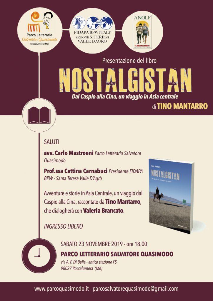 """Presentazione del libro """"NOSTALGISTAN""""                           di Tino Mantarro."""
