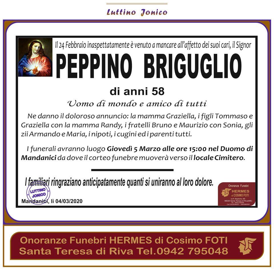 Oggi 5 Marzo si terranno i funerali di Peppino BRIGUGLIO