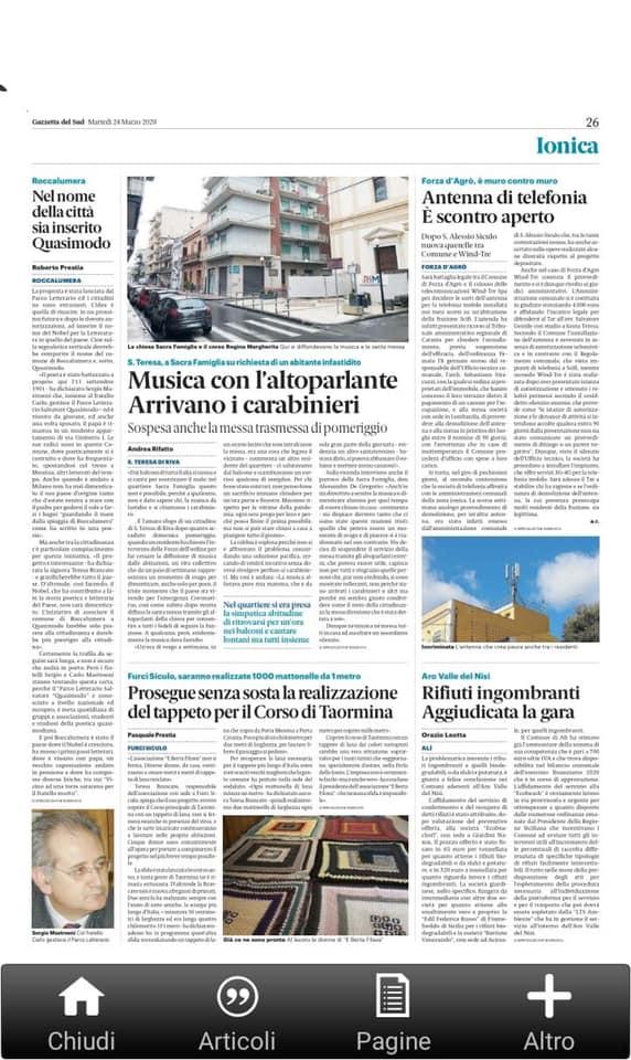"""""""ROCCALUMERA – Nel nome della Città sia inserito Quasimodo"""", oggi sulla Gazzetta del Sud. Articolo di Roberto Prestia."""