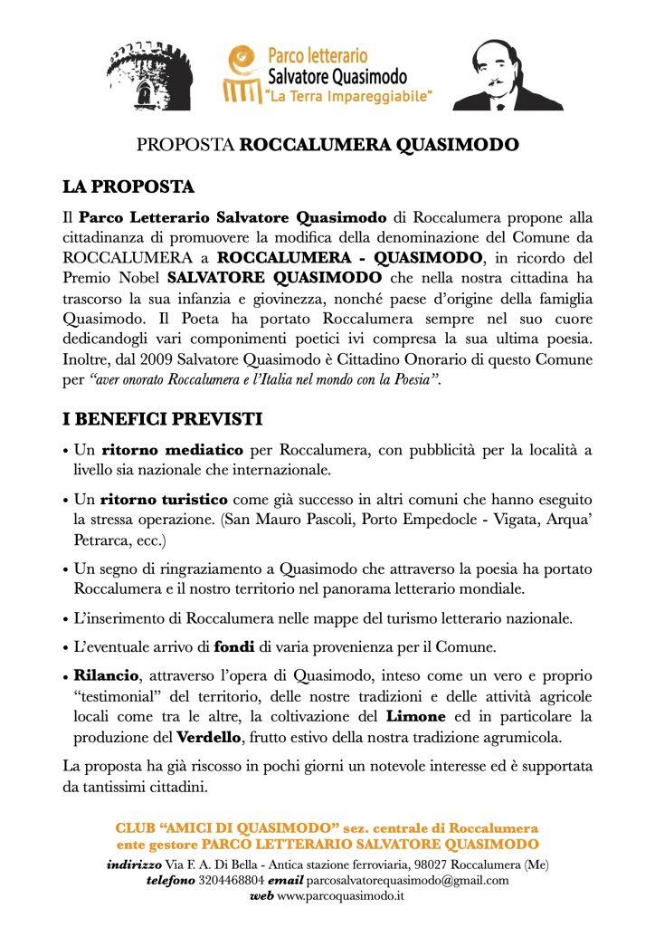 """PROPOSTA """"ROCCALUMERA-QUASIMODO"""""""