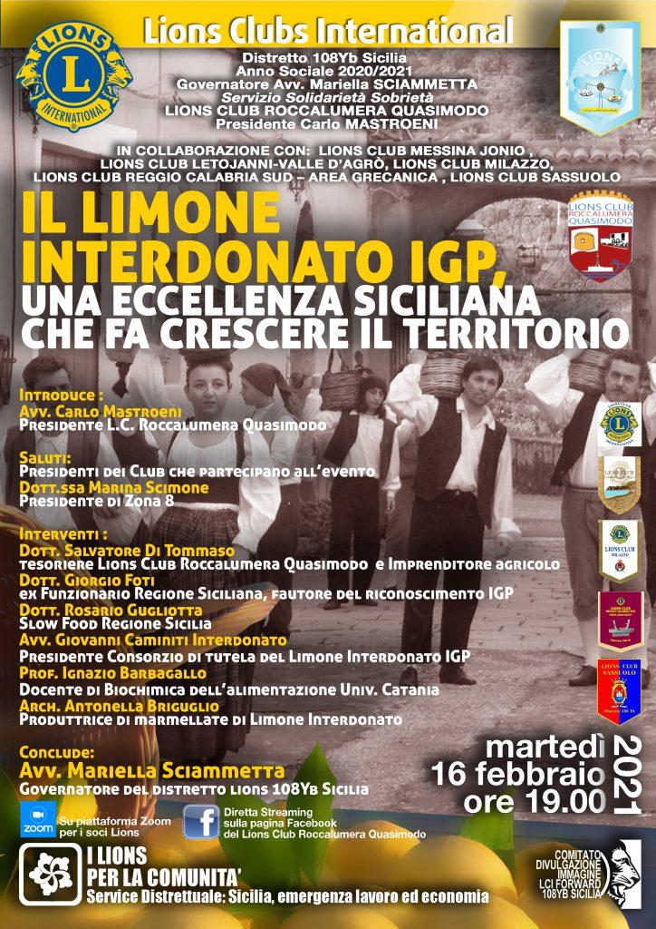 """il Lions Club Roccalumera Quasimodo si spende per il comprensorio Jonico : video conferenza su """"Il Limone Interdonato IGP , una eccellenza siciliana che fa crescere il territorio """""""